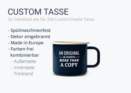 "Emaille Tassen ""Custom Made"""