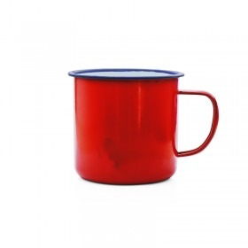 Emaille Tasse  Promo 9 cm rot